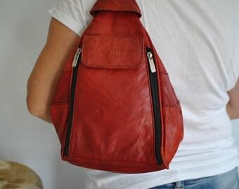 Vintage JOOP red leather backpack , leather bag....(426)