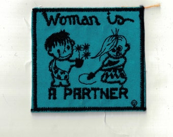 Woman is a Partner Velveteen Square Blue Cave People Retro 1970s Vintage Sewing Patch