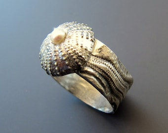 Sterling Silver Sea Urchin Ring with Freshwater Pearl Oxidized with Urchin Texture Wide Shank Ring, Size 9