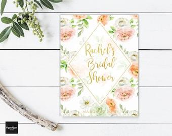 Guest Book, Bridal Shower Guestbook, Wedding Guest Book, Pastel Floral Guest Book, Spring Bridal Shower Guest Book, Pastel Watercolor Floral