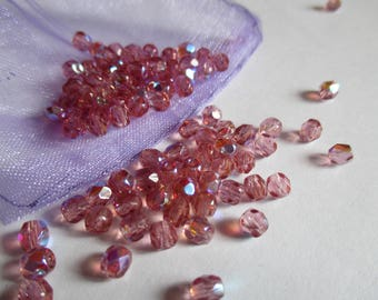25 faceted beads 4 mm french Rose AB