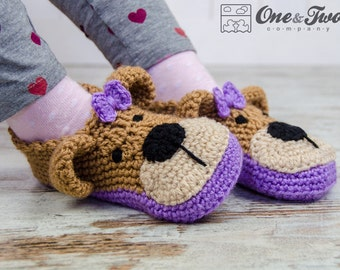 Teddy Bear Booties - PDF Crochet Pattern - 2 versions - Child sizes ( US 10-11, 12-13, 1-2 ) - Shoes Child Booties Slippers
