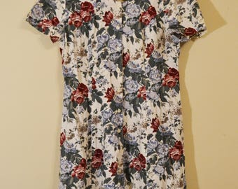 Vintage 1980s Floral Plus Size Dress
