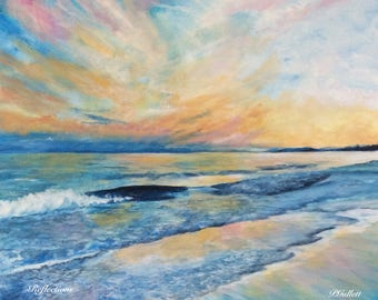 REFLECTIONS Giclee Archival Ink Premium Luster Paper Print Of Original Painting Gorgeous Beach Sunset Sky Waves Pat Gullett
