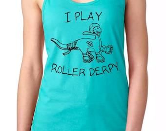 I PLAY ROLLER DERPY women's fitted roller derby racerback tank top