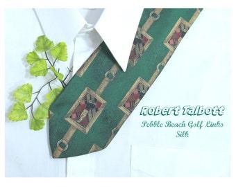 golf tie, Robert Talbott tie - golf necktie, gift for golfers, silk necktie, designer tie, Men's accessories ,  # T 52