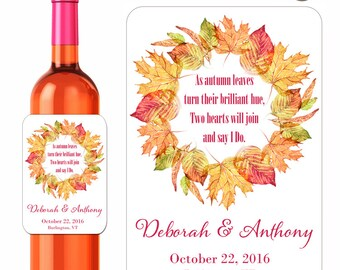 Autumn Leaves Custom Wedding Wine Labels Fall Leaf Wreath With Saying I Do Custom Beverage Label Waterproof Vinyl 3.5 x 5 Inch