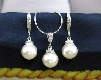 Swarovski 10mm Round Pearl Drop Dangle Earrings & Necklace Bridal Gift Wedding Jewelry Bridesmaid Gift Bridal Earrings (NE030)