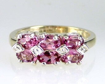 Natural Pink Tourmaline Band Ring 925 SS Sterling Silver