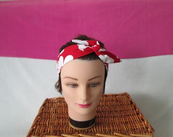 Vintage rigid tie headband red with large white flowers