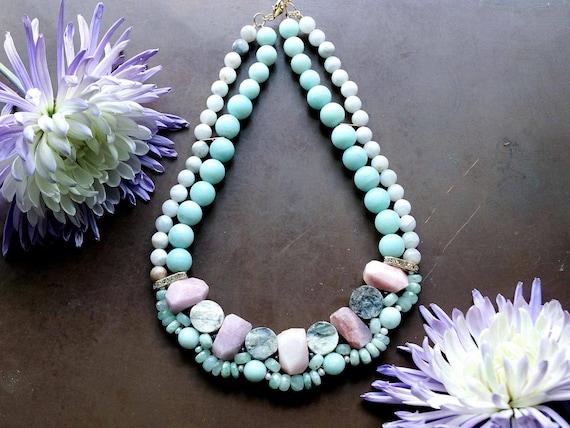 Chunky pastel blue & pink gemstone necklace