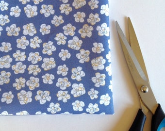 Blue & White Flowers fabric, Small pretty floral fabric, fat quarter, Limited edition
