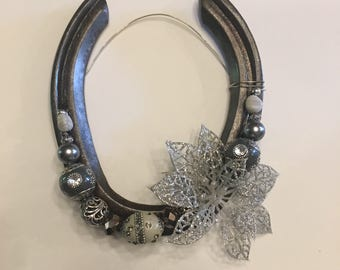 Grey Beaded Decorative Horseshoe