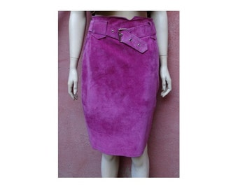 1980s pink suede belted high waist SKIRT // size eu 38-uk 10 - us 6
