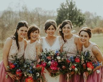 Bridal Separates , Sequin top , Camisole , Bridesmaids top , Tulle skirt , Wedding Separate , Sequin top ,Crop top dress / Wedding Dress