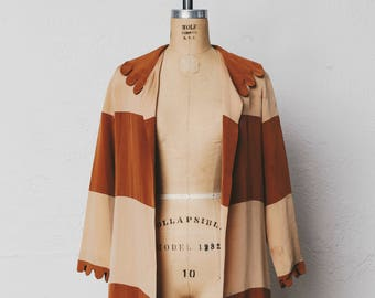 1920s Flapper Vintage Brown Striped Jacket