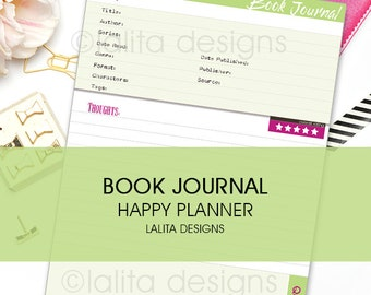 Book Reading Journal Printable Insert for use with Happy Planner and Erin Condren LIFEPLANNER™