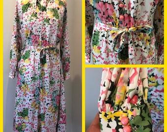 60s Vintage Dress, 60s Retro Dress, Vintage Dress, 1960s Floral Dress, Kitsch Dress, 1960s vintage, vintage floral dress