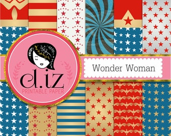 Stars and stripes digital paper 'Wonder Woman' inspired red white blue gold stars and stripes patterns x 12