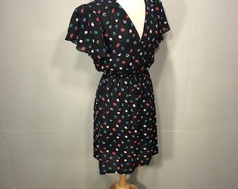 secretaries 80s dress Charlee Allison for Eljy polka a dot sheer dress black red green pruple white dots spring lightweight