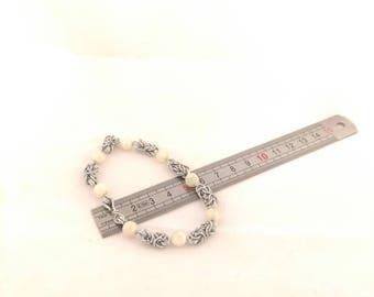 alluminium bracelet with mother pearl