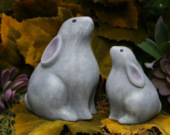 Moon Gazing Hare Statue   Mom U0026 Baby Moon Hares   Abstract Style Pagan  Statue   Concrete Garden Statue