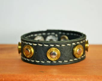 Black Leather Bracelet with real Bullet heads - Hand stitched