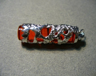 Pendant Silver Plated Brass Column Red 38x12mm