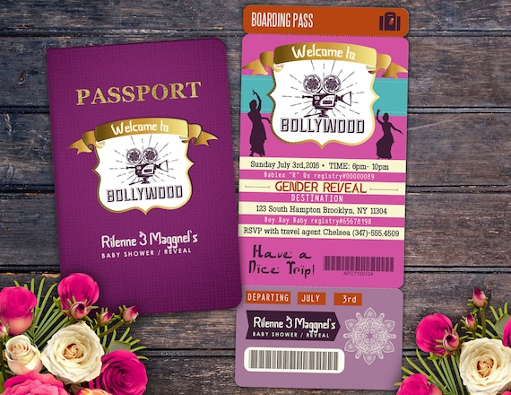 Passport and ticket baby shower invitation girl birthday like this item filmwisefo Image collections