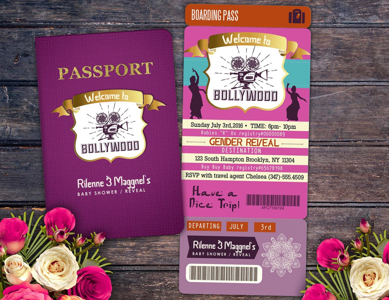 PASSPORT and TICKET baby shower invitation! Girl birthday party ...