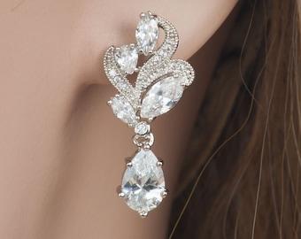 Cubic Zirconia Bridal Earrings, Wedding Earrings, Cubic Zirconia Drop Earrings,  Sparkly Earrings, Crystal Drop Earrings, UK Seller