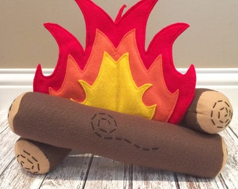 Campfire Play Set, Felt Campfire, Montessori Toy, Campfire Set, Eco-friendly, Flame and Logs ONLY, Faux Campfire, Play food, Pretend
