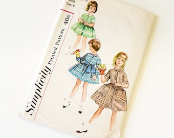 Vintage 1960s Girls Size 6 One Piece Full Skirt Shirtdress and Tie Belt Simplicity Sewing Pattern 3563 Complete / bust 24 waist 22