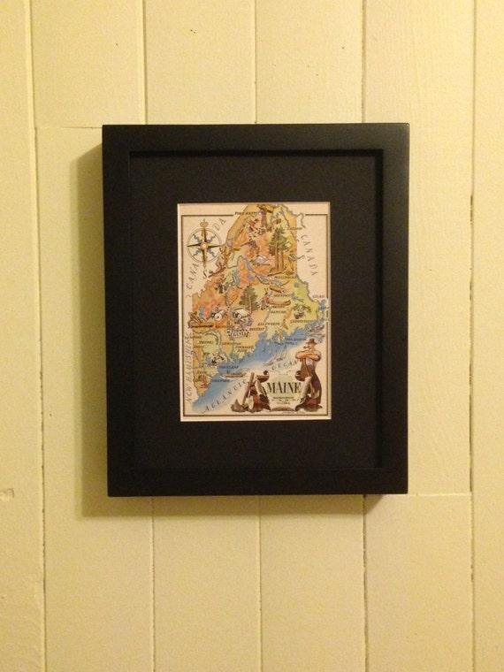 Maine Map Art / Old Map Illustration / Vintage Map Print /