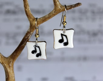 Music Notes Dangle Porcelain Earrings