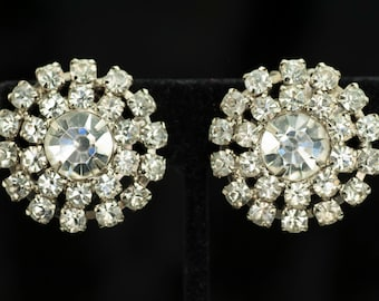 Clear Rhinestone Circle Earrings Clip Style Silver Tone Vintage