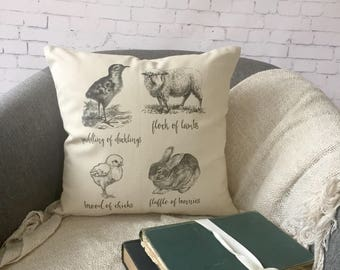 Easter baby animal group names, easter throw pillow, spring pillow, bunny chick lamb duckling