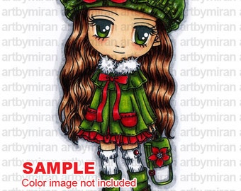 Digital Stamp - Desi(#150), Christmas Digi Stamp, Coloring page, Printable Line art for Card and Craft Supply