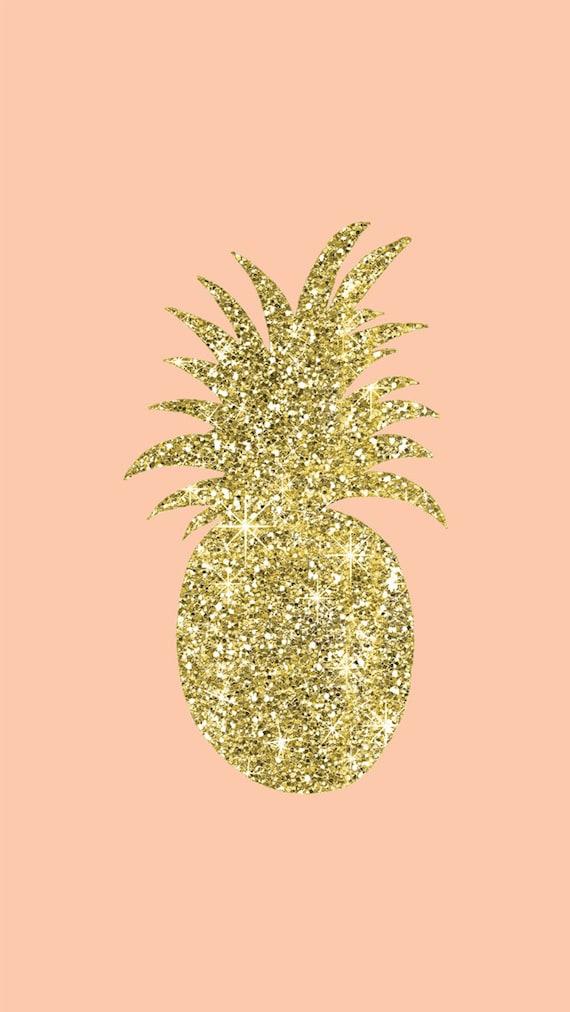 Gold Glitter PineappleIphone Wallpaper Digital DownloadCell