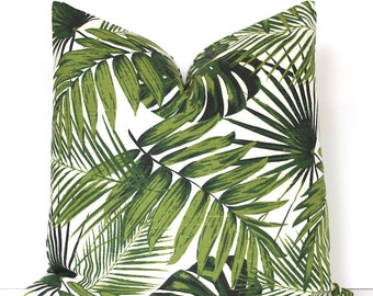 Green Tropical Decorative Designer Pillow Cover Accent Cushion palm fronds Leaves nature ferns modern martinique Resort floral cream ivory