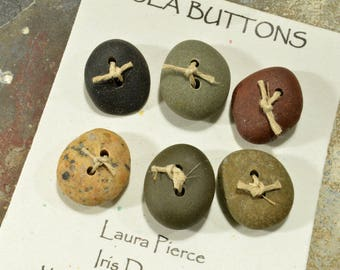 Six smooth assorted  little  Maine sea stone oval buttons ecochic  ocean style for knitters and jewelry craft