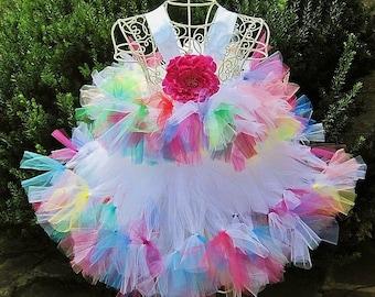ROCKSTAR CONFETTI PRINCESS, Rainbow Tutu Dress, Rockstar Dress, Pageant Girl Dress, Flower Girl Gown, Birthday Girl Dress, Girls Costumes,