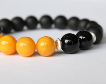 Black amber men bracelet, amber and silver, black cherry antique amber, natural Baltic amber, bracelet for him, gift for men, gemstone