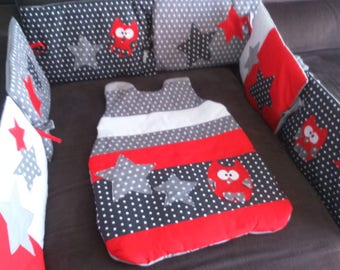 CUSTOM /DELAIS set-10 days bumper and sleeping bag red clear/white/gray starry polka dots