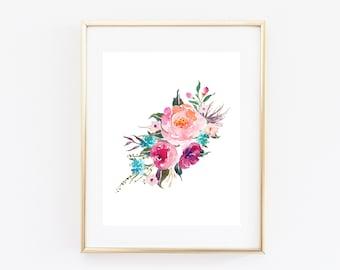 "Printable wall art, floral wall art, 8x10"", Nature art print, floral watercolor print, printable floral art, home decor, nursery decor"
