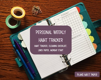 PRINTABLE Personal Habit Tracker and Weekly Cleaning Schedule With Lined Paper Monday Start