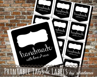 Printable PDF Label or Sticker - Blackboard style Handmade with Love & Care Tags