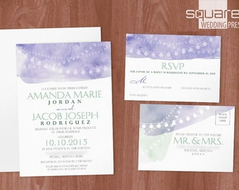 Watercolor Wedding Invitation - DEPOSIT - Cafe Lights Wedding Invitation - Wedding Invites, Custom Design - Lavender & Sage - Ceremony Cards