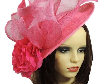Saratoga Fuchsia Fascinator Hat for Weddings, Kentucky Derby With Headband (40 colours)