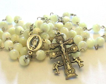 Cruz de Caravaca Rosary with Our Lady of Guadalupe Santo Niño de Atocha Center Medal &  Mother of Pearl Beads